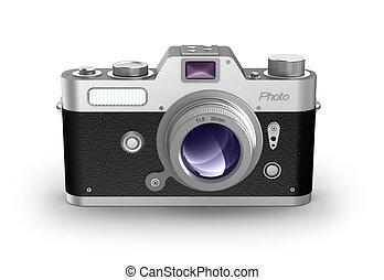 retro, foto, câmera., frente, vista.