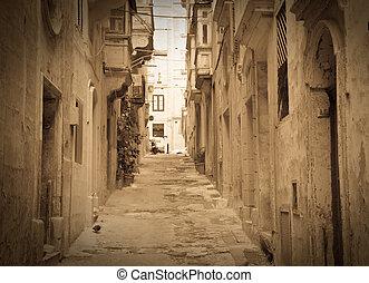 retro, foto, de, viejo, pintoresco, calle