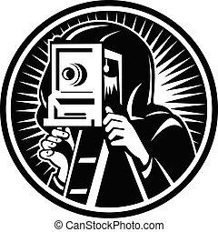 retro, foto, fotograf, kasten, weinlese, schwarz, gebrauchend, nehmen, fotoapperat, weißes, holzschnitt