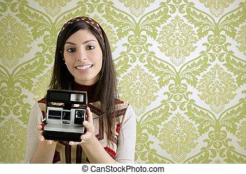 retro, fotokamera, frau, grün, sechziger, tapete