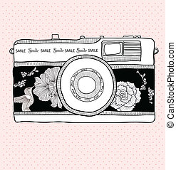 retro, fototoestel, met, bloemen, en, vogels