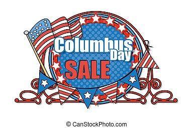 Columbus Day Sale Banner - Retro Frame Columbus Day Sale...