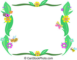 Retro Frame of Leaves, Flowers and Bugs