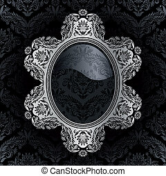 Retro frame on the black damask background