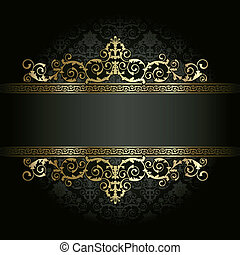 Retro frame on the black floral background
