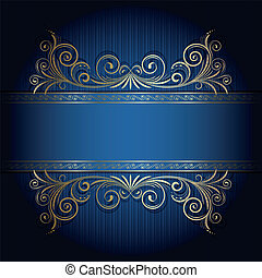 Retro frame on the blue floral background