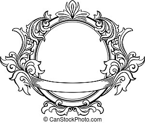 Retro frame with decorative floral elements