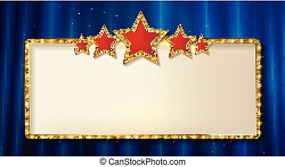 Retro frame with five stars and spots and blank billboard....