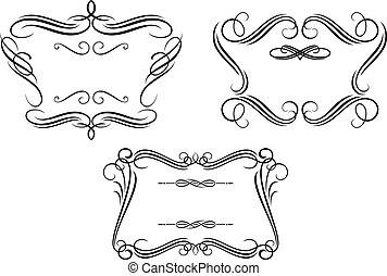 Retro frames with decorative elements