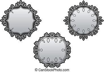 Retro frames with vintage embellishments