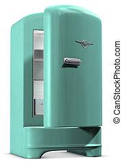 Retro Fridge - A retro turquoise colored refrigerator on...