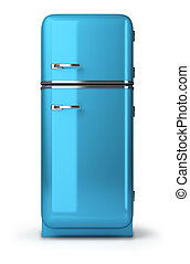 retro fridge - Blue a retro the fridge. 3d image. Isolated...