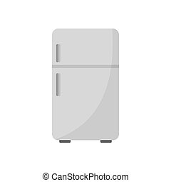 Retro fridge icon, flat style