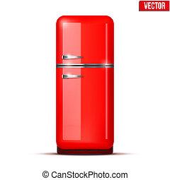 Retro Fridge refrigerator. Vector isolated on white background