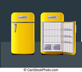 Retro fridge. vector illusttration. Open refrigerator with full in realistic style
