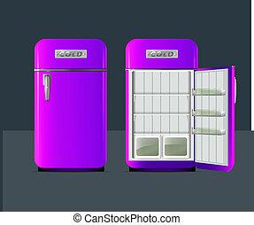 Retro fridge. vector illusttration.