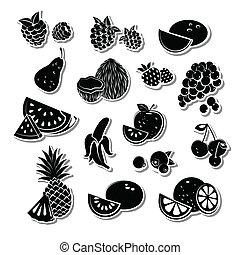 retro, frutta, set