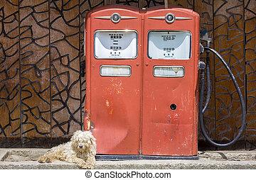 Retro fuel pump in vintage petrol station with do, Venezuela