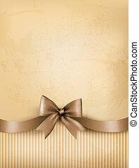 retro, fundo, com, antigas, papel, e, arco presente, e, ribbon., vetorial