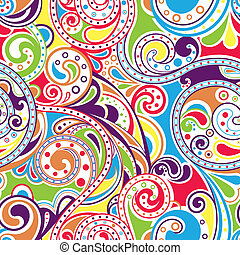 Retro Funky Scroll Pattern 4 - Illustration of seamless...
