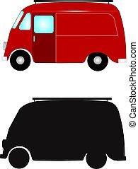 retro, furgone consegna
