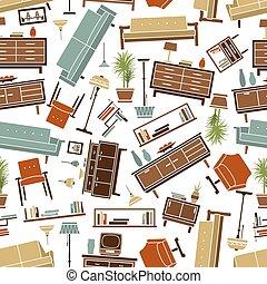 Retro furnishing seamless background pattern