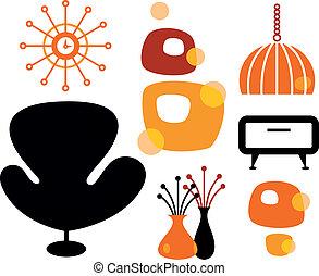 Black and orange 60s furniture collection. Vector Illustration.