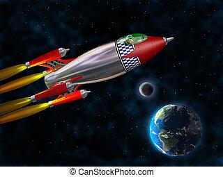retro, fusée, espace