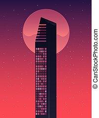 retro future label with buildings scene