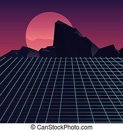 retro future label with mountains scene
