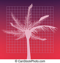 retro future label with palm