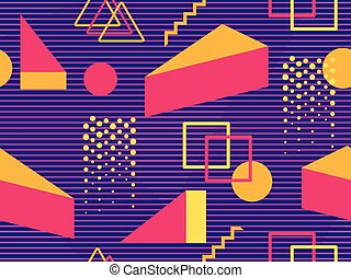 Retro futurism seamless pattern. Geometric elements memphis in the style of 80's. Synthwave retro background. Retrowave. Vector illustration