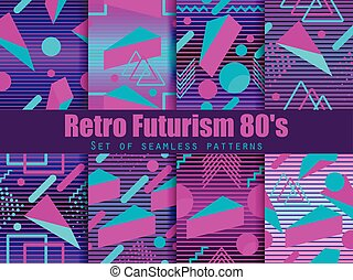 Retro futurism seamless pattern set. Geometric elements memphis in the style of 80's. Synthwave retro background. Retrowave. Vector illustration