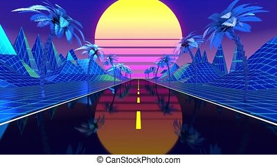 Retro blue footage with a road, mountains, palm trees and sun - futuristic design suitable for the 80's. 3D digital animation with 4k resolution - 3840 x 2160 px.