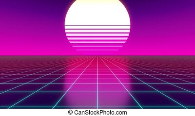 Retro violet and blue footage with flat terrain, grid and sun - futuristic design suitable for the 80's. 3D digital animation with 4k resolution - 3840 x 2160 px.