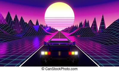 Retro violet and blue footage with car on a road and mountains - futuristic design suitable for the 80's. 3D digital animation with 4k resolution - 3840 x 2160 px.