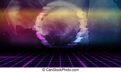Retro futuristic 80s - 90s abstract hi-tech neon motion background with grunge galaxy sky and glitch effect circle. Seamless looping. Video animation Ultra HD 4K 3840x2160