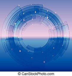 Retro-futuristic background with blue segmented circle and sparkles