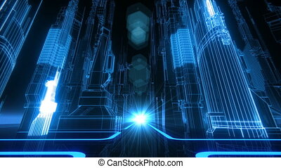Retro-Futuristic City VJ Loop - 80s style cyber neon grid...