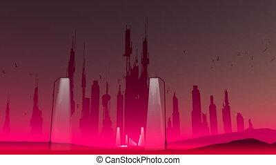 Retro-futuristic Cityscape - Retro-futuristic cityscape with...