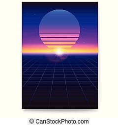 Retro futuristic covers. Abstract digital landscape in a cyber world in 1980s style. Sci Fi background for banner, brochure, layout, 3D illustration. Vector template of poster