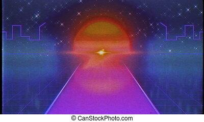 Retro Futuristic, Flight over the road, 80s Retro Sci-fi. -...