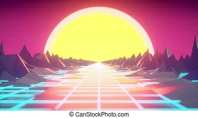 Retro futuristic motion graphics. Digital landscape moving...