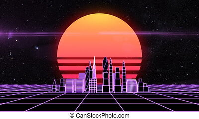Retro futuristic synth grid cityscape background