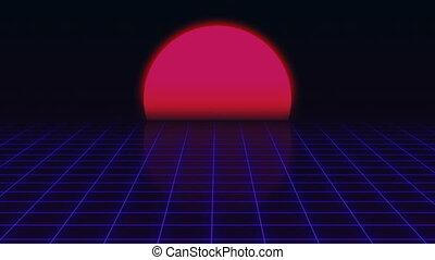 Retro Futuristic.Grid and sunset. 80s Retro Sci-fi...