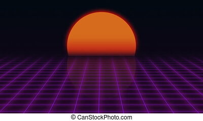 Retro Futuristic.Grid and sunset. 80s Retro Sci-fi...