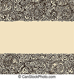 retro, gabarit, encre, floral, dessin, carte
