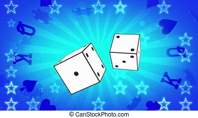 Retro gambling blue animated looping CG background - ...