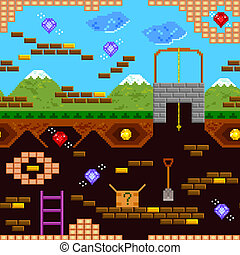 retro game - seamless pattern of retro style video game