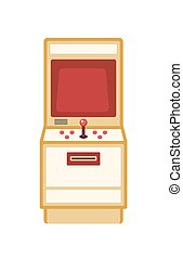 Retro game machine flat vector illustration. Vintage arcade cabinet with buttons isolated on white background. Amusement equipment. Classic electronic game. Old school entertainment device.